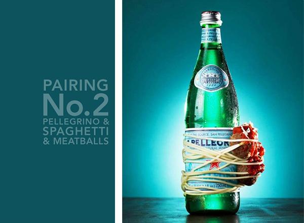 Минеральная вода Pellegrino и спагетти с тефтелями