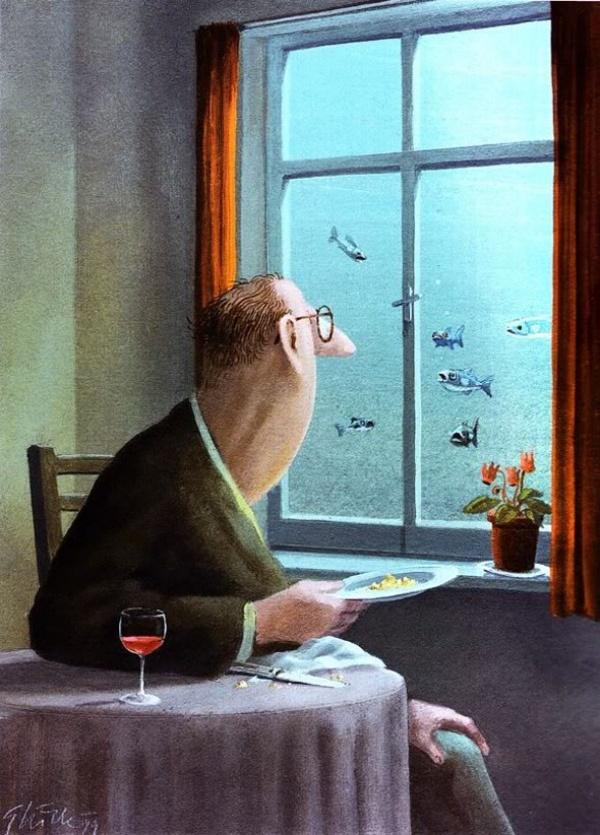 Андре охотно покормил бы рыбок, но опасался последствий.