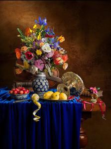 Кевин бест Натюрморт с цветами, лимонами и скрипкой 500 х 672