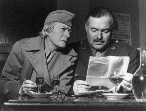 Ernest Hemingway and American writer Janet Flanner in Deux Magots 600 х 472