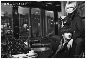 Кейт Мосс и Гаспар Ульель в рекламе Longchamp в Кафе де Флор  650 х 450