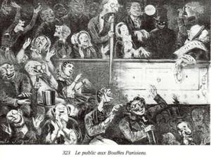 Публика в театре Bouffes-Parisiens, 1860 542 х 411