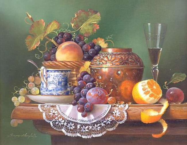 Натюрморт с фруктами на столе 650 х 504