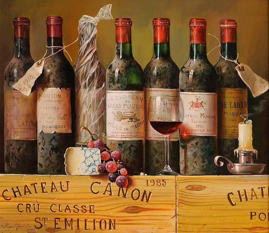 натюрморт с бутылками вина 900 х 781