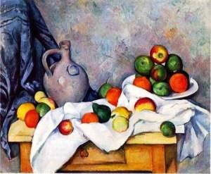 занавес-кувшин-блюдо с фруктами-Paul-Cezanne