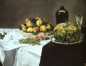 картина Эдуарда Мане_Натюрморт с арбузом и персиками  1866 800 х 615
