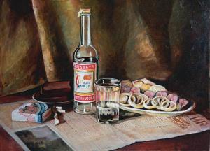 картина художницы Ксении Онискеевой_Под впечатлением разговора о полупустом стакане
