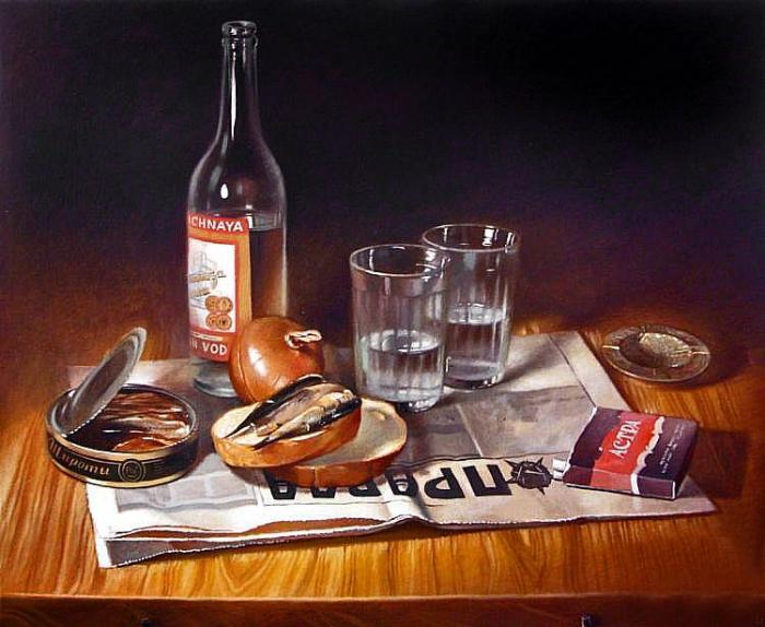 картина Татьяны Бурдиной_Пшеничная водка и килька