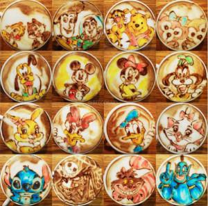 Цветной латте-арт персонажи диснея_color_latte_art
