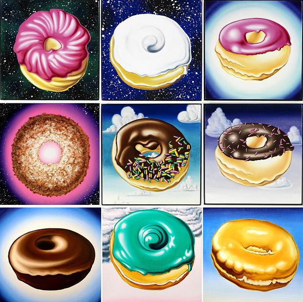 арт-картины Кенни Шарфа (Kenny Scharf) с парящими в космосе пончиками