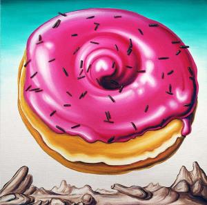 арт-картины Кенни Шарфа (Kenny Scharf) с парящими в космосе пончиками1