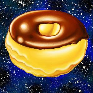 арт-картины Кенни Шарфа (Kenny Scharf) с парящими в космосе пончиками2
