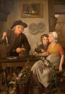 картина Adriaan de Lelie - Подготовка первой сельди к продаже 600 х 862