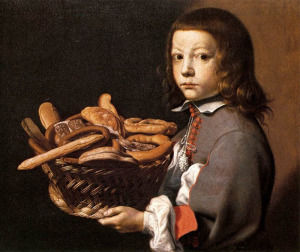 Evaristo Baschenis, 1665 Мальчик с корзиной хлеба 700 х 590