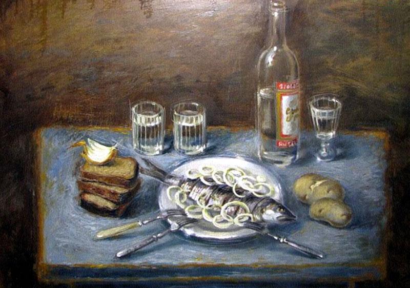 натюрморт Селедка с луком-Ольга Оснач - 800 х 562