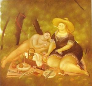 Фернандо Ботеро Ангуло-фигуративизм-завтрак на траве