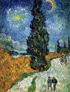 Винсент Ван Гог -Дорога с кипарисом и звездой- 1890