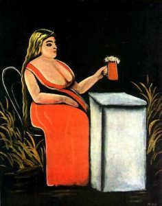нико пиросмани-Женщина с кружкой пива