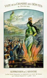 плакат противников абсента-казнь зеленой колдуньи