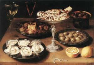 Osias Beert Натюрморт с устрицами и печеньем. 1610. 800 х 557