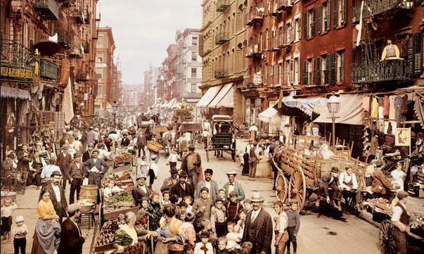 Раскрашенная фотография Малберри стрит, район Маленькая Италия. 1900г.
