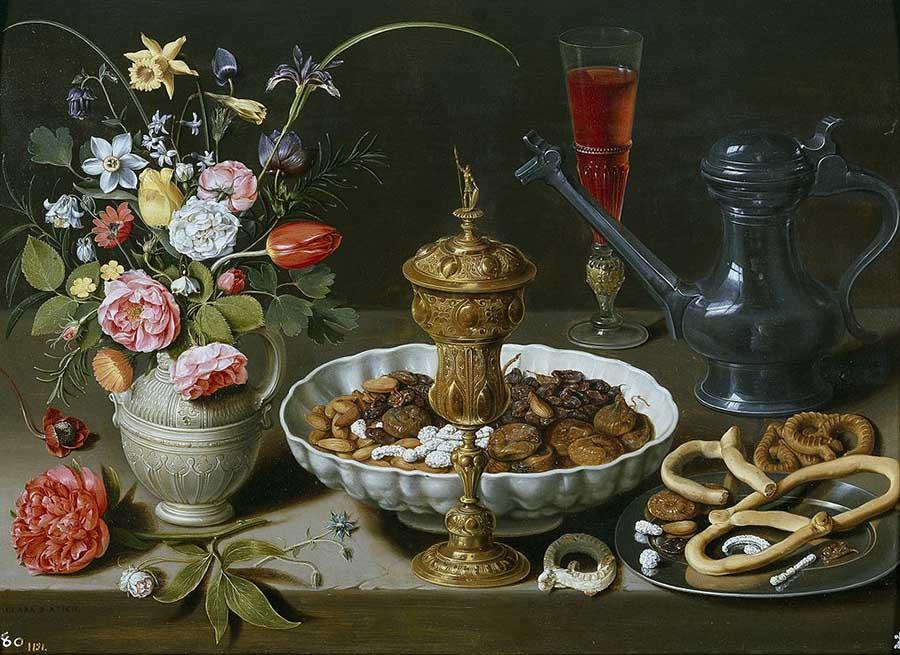 натюрморт с орехами, сладостями и цветами 900 х 655