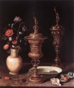 натюрморт с цветами и кубками 800 х 949