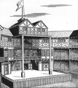 сцена театра Глобус гравюра 418 х 472