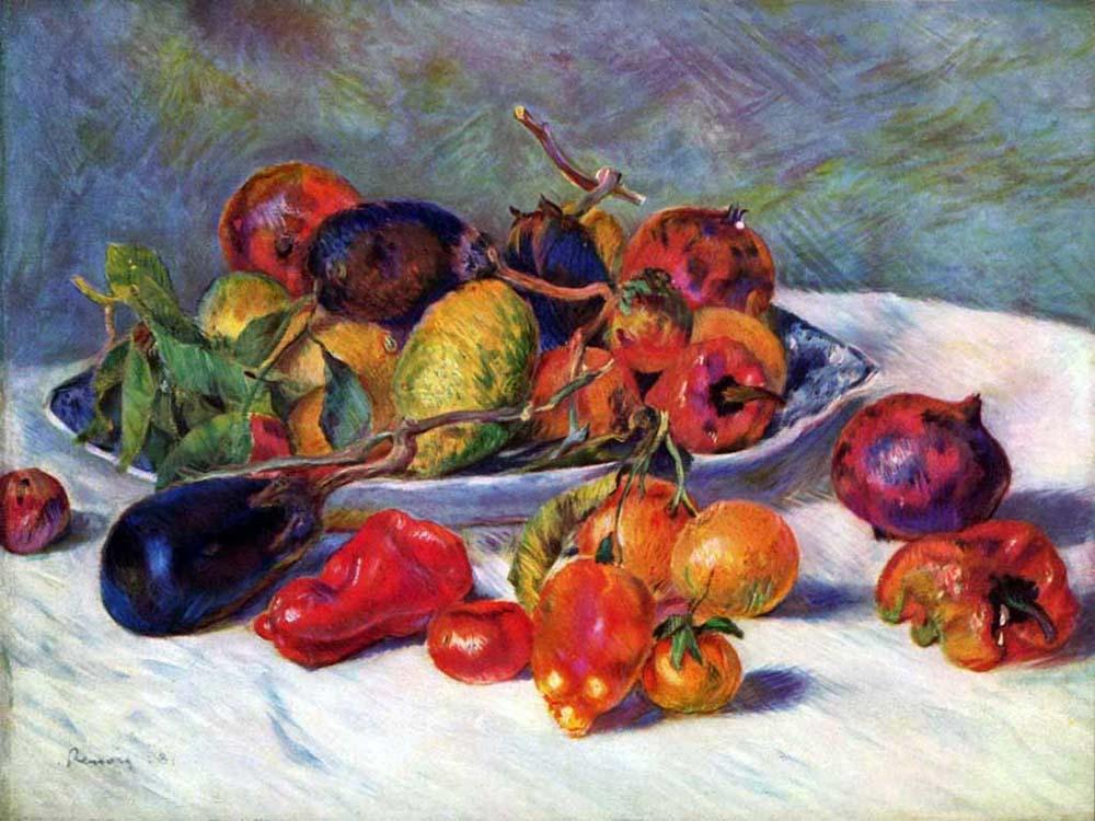 Плоды в вазе в форме раковины 1000 х 750