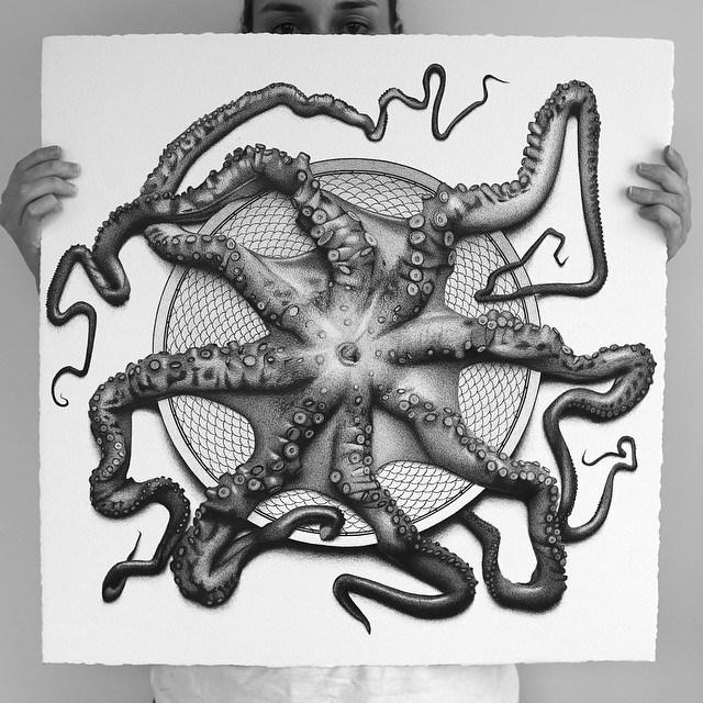 арт-работы-художник CJ Хендри-осьминог