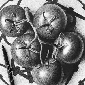 арт-работы-художник CJ Хендри-помидоры-крупно