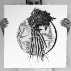 арт-работы-на тарелках- CJ Хендри-CJ Hendry-морковь