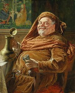 Эдуард фон Грютцнер «Falstaff mit großer Weinkanne und Becher» (1896)