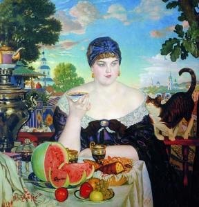 Кустодиев Б.М. Купчиха за чаем,1918 800 х 833
