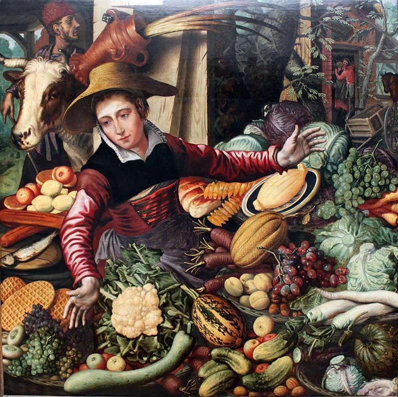 Питер Артсен Рыночная торговка овощами (1569) - 800 х 798
