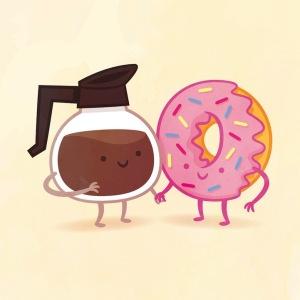 пищевые пары-иллюстрации-Tseng- Кофе и Пончик