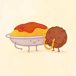 пищевые пары-иллюстрации-Tseng--Тефтели с пастой спагетти