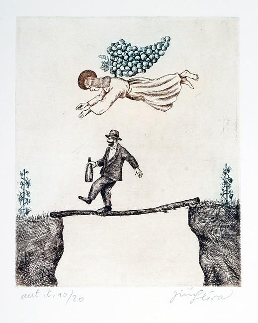 винные карикатуры- Jiri Sliva-Ангел хранитель пьяницы