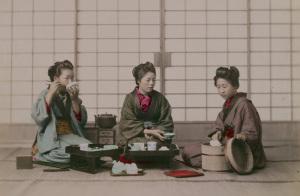 Обед в японском доме, фотография XIX века  800 х 525