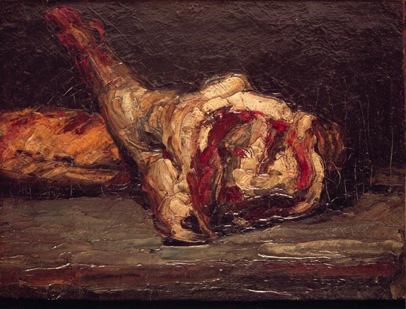 Поль Сезанн, Натюрморт с бараньей ногой и хлебом,1865 800 х 609