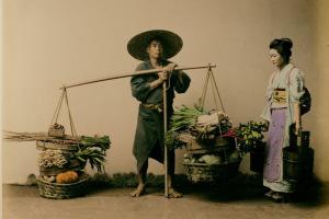 Японский рынок, фотография XIX века  850 х 569