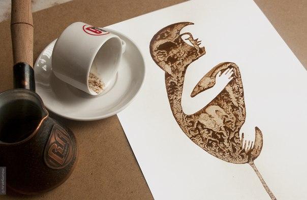 рисунки пролитого кофе-Николай Мирумян -5