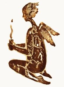 рисунки пролитого кофе-Николай Мирумян -ангел