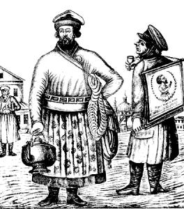 русский лубок- продавец чая с сушками