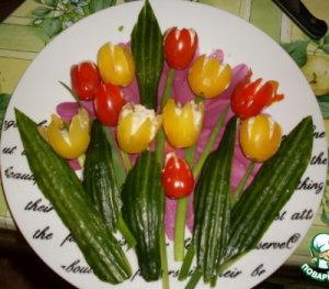 букет тюльпанов из фаршированных помидор-3