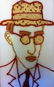 портрет писателя Фернандо Пессоа из сосисек и кетчупа