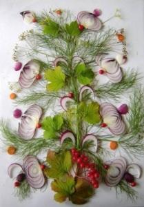 комбинированный букет (лук, зелень, морковь, ягоды)