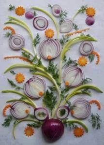 комбинированный букет (лук, зелень, морковь, ягоды)3