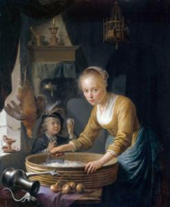 Герард Доу, Девушка, режущая лук