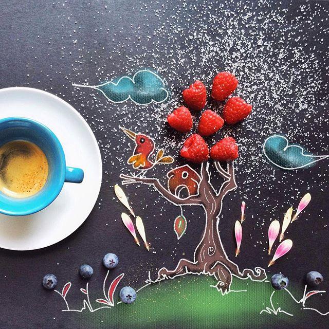 кофейные арт компиляции - Синтия Болоньези (Cinzia Bolognesi)-Дом на ветвях